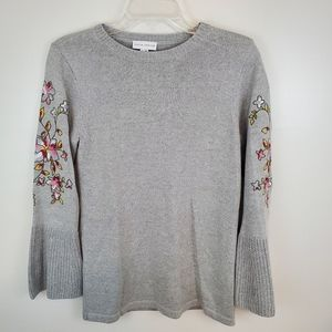 Susan Graver Gray Embroidered Sweater XXS